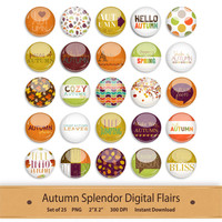 Autumn Flair Digital Flair Badge Autumn Leaves Scrapbook Embellishment Project Life Pins October Stickers Printable September Flair Elements