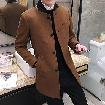 Wool Jacket Overcoat Mens Woolen Jacket Coat Long Casaco Masculino Fashion Autumn Winter Warm Trench Coat Single Breasted