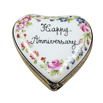 Happy Anniversary Heart Limoges Porcelain Figurine Box