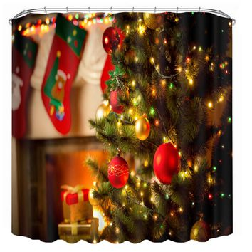 3D Christmas Waterproof Polyester Bathroom Shower Curtain Decor with 12 Hooks