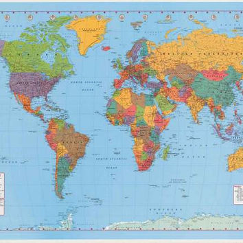 World Map Geography Poster 24x36