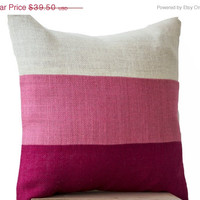 Valentine SALE Chic Pink Burlap Pillow -Throw Pillows color block- Decorative pink cushion cover- Burlap Throw pillows - gift -26x26 -Fuchsi