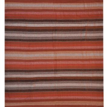 Handloom 100% Cotton Stripe Tapestry Spread Throw Brown Full Double 98x86 Inches