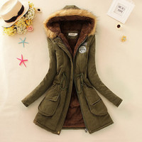 Winter Women Coat 2016 Parka Casual Outwear Military Hooded Coat Woman Clothes Fur Coats manteau femme Winter Jacket Women MA354