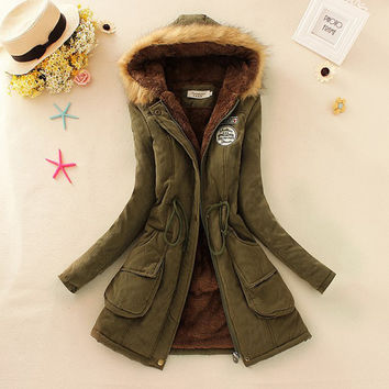 "2016 ""Best Seller"" Winter Women Coat Parka Casual Military Hooded Coat"