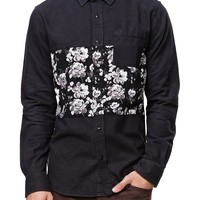 On The Byas Mikey Pieced Long Sleeve Woven Shirt - Mens Shirt