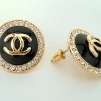 Classic Chanel Gold and Black Post Earrings Circled with Crystals --  Inspired By Coco Chanel