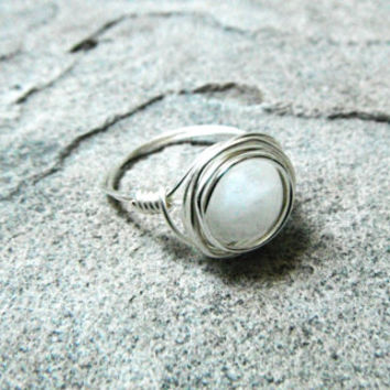 Rainbow Moonstone Ring, Wire Wrapped Ring, White Stone Ring, Wire Wrapped Jewelry Handmade, Gemstone Ring, Stone Jewelry, Chunky Ring