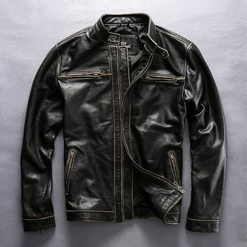 HARLEY ANGEL 2017 New Arrival men's Vintage genuine cowskin motorcycle leather jacket with  biker jacket for men black coat
