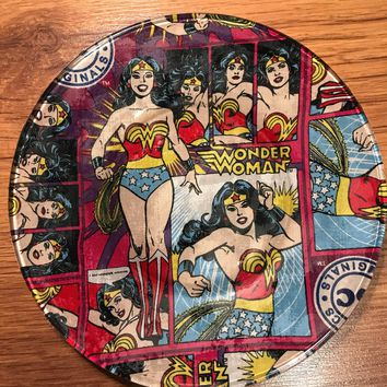 Handmade 8 inch Round Decorative Fabric Backed Wonder Woman Glass Plate