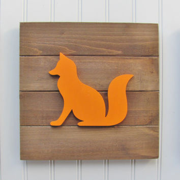 Fox, Baby Decor, Woodland Nursery, Nursery Decor, Tribal Decor, Woodland Decor, Nursery Wall Art, Pallet Board, Pallet Sign, Woodland Animal