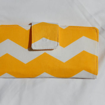 Womens Wallet Clutch billfold Yellow and White Chevron Bright Cellphone checkbook cover Simple Organizer Bifold zipper credit card holder