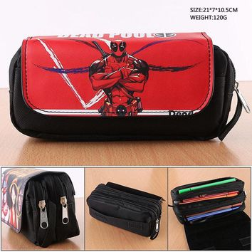 Deadpool Dead pool Taco  Anime Attack on Titan Pencil Bag Monokuma Student Stationery Bag Fairy Tail Double-Zipper Portable Pencil Pouch Bag AT_70_6