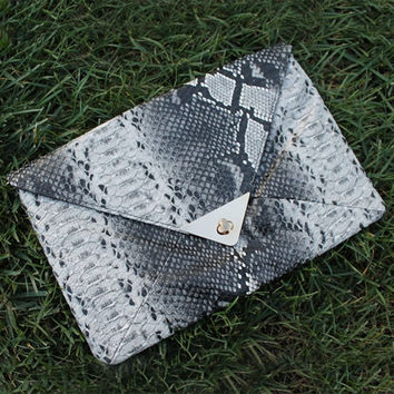 Aleise Elegant Retro Snakeskin Envelope Clutch Purse