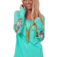 Mint Knit Top with Sequin Elbow Detail