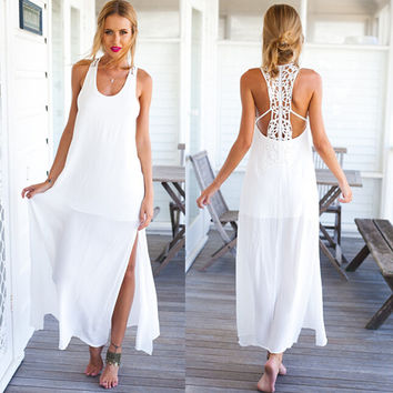 2016 Summer Style Elegant Women Long Beach Dresses O Neck Casual White Solid Lace Maxi Dress Vestidos