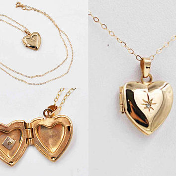 Vintage 14K Yellow Gold & Diamond Heart Locket Necklace, Starburst, Cable Chain, Fine, Sweetheart Gift, 2.1 Grams, Lovely! #c239