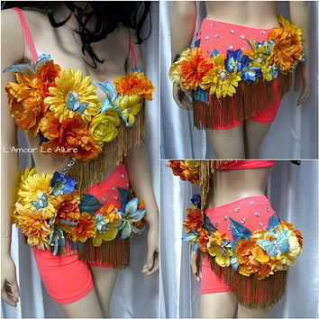 {SALE ITEM} Tropical Turquoise Fringe Fairy Monokini Costume