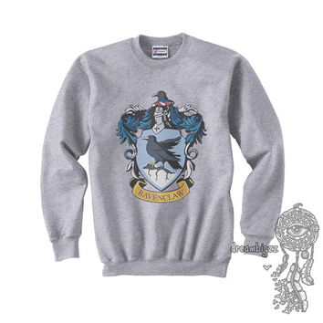 Ravenclaw Crest #1 printed on Light Steel and White Crew neck Sweatshirt