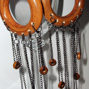 Gorgeous wooden hoop dangle earrings..