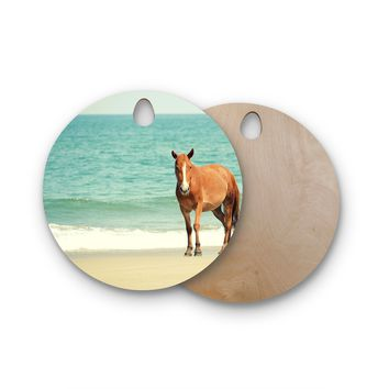 "Robin Dickinson ""Wild Mustang of Carova"" Horse Ocean Round Wooden Cutting Board"