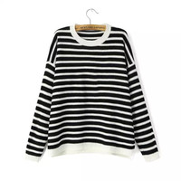 Classic Black and White Striped Red Heart Elbow Patch Warm Knit Crew Neck Asymmetric Loose Style Oversized Sweater