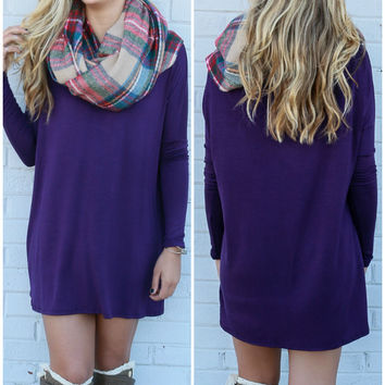 Time Well Wasted Plum Long Sleeve Dress
