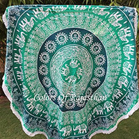 COR's Hippie Mandala Tapestry Round Roundie Wall Hanging Beach Towel Throw Yoga Mat Round Tapestry 82""