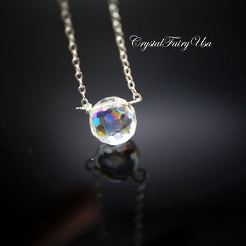 Sterling Silver Swarovski Crystal Necklace  - Tiny Rainbow Faceted Briolette Crystal Necklace -Single Stone Necklace