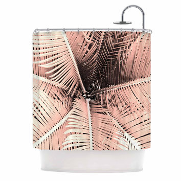 "Suzanne Carter ""Palm-Peach"" Pink Black Shower Curtain"