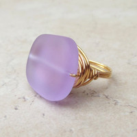 Lavender Sea Glass Ring:  24K Gold Wire Wrapped Purple Beach Jewelry, Color Changing, Size 7