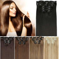 New Available 6pcs/set Clip in False Hair Pad Synthetic Hair Styling 16 Clips in Hair Extension One Piece 613 Blonde Hair Piece