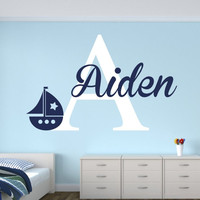 Personalized Name Sailboat Wall Decal for Boys Nautical Wall Decal  Art Vinyl Nursery Wall Decals Home Decor KW-119
