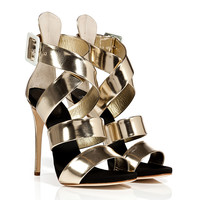 Giuseppe Zanotti - Platinum Leather Wafer Platform Sandals