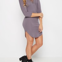 Gray Lace-Up Neckline Knit Dress | Casual Dresses | rue21
