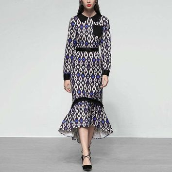 Spring Summer European And American Print Collar Slim Empire Waist Long Sleeve Asymmetrical Midi Dress