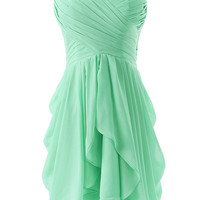 Green Ruched Sweetheart Neckline Pleated Mini Dress