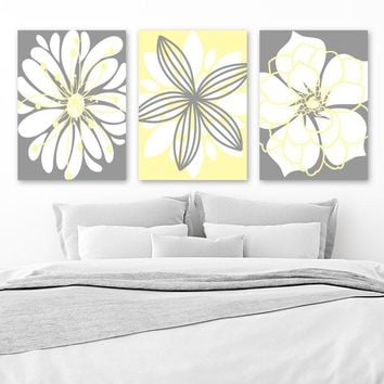 Yellow Gray Wall Art, Canvas or Prints, Flower Wall Art, Floral Bathroom Decor, Yellow Gray Nursery, Floral Bedroom Wall Decor, Set of 3