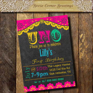 Mexican FIESTA 1st Birthday Party Invitation Chalkboard Uno Papel Picado invitation TEX MEX Invitation Gender Neutral Pink Yellow