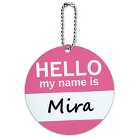 Mira Hello My Name Is Round ID Card Luggage Tag