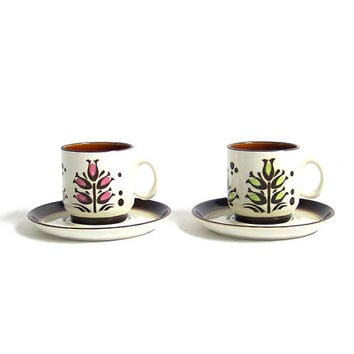 Mid Century Coffee Mugs Tea Cups Set Pair Two Boch Belgium White Ironstone Pink Green Floral Pattern Mid Century Modern Serving Kitchenware