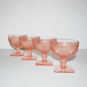 Vintage Pink Sherbet Glasses Champagne Dessert Glasses Set of 4 Pink Depression Glasses Footed Glasses Anchor Hocking Miss America Pattern