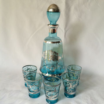 Vintage Hand Blown Italian Decanter with Silver Overlay, Italian Decanter with Five Shot glasses