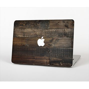 The Dark Wooden Worn Planks Skin Set for the Apple MacBook Air 11""