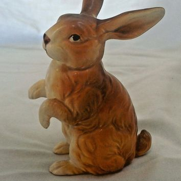 Vintage 70's Lefton Bunny Rabbit Brown #H6664 Porcelain Japan Figurine Easter
