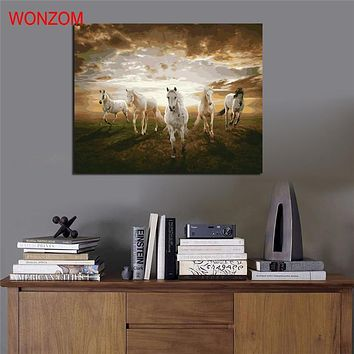 Horses running Painting by numbers DIY digital poster animal kits acrylic color drawing by numbers for living room schilderen