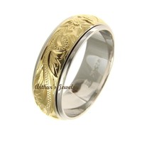 STERLING SILVER 925 HAWAIIAN PLUMERIA SCROLL YELLOW GOLD PLATED 2 TONE SPIN RING