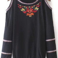 Black Embroidery Off-shoulder Blouse
