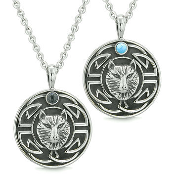 Amulets Love Couple or Best Friends Celtic Viking Wolf Set Simulated Onyx Simulated Turquoise Necklaces