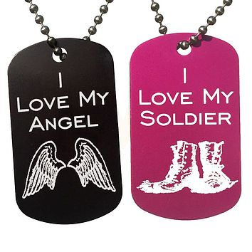I Love My Angel & I Love My Soldier Dog Tag Necklaces (Pair)